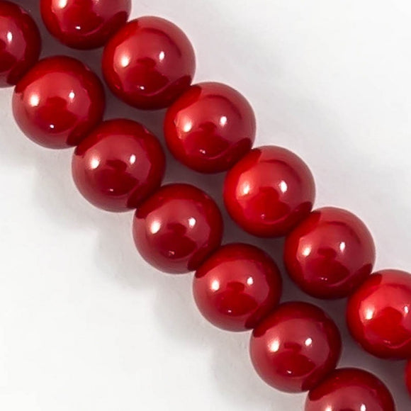 Cg 8mm rnd enameled glass dark red 52+p