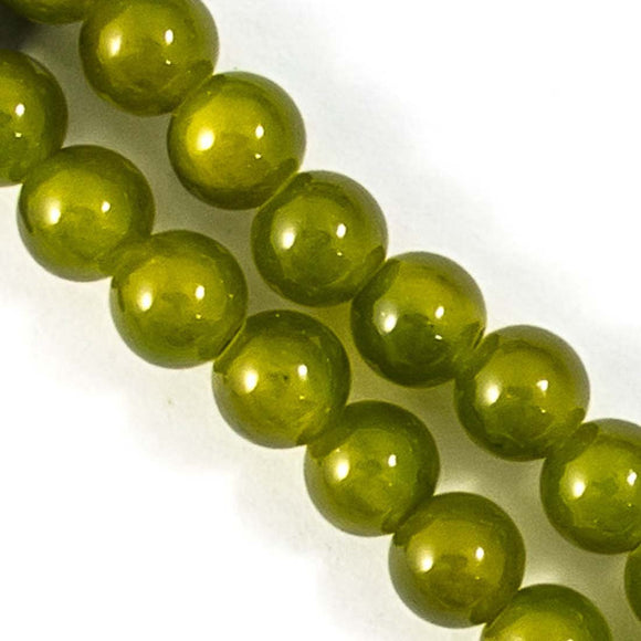 Semi prec 8mm rnd jade olive 52pcs