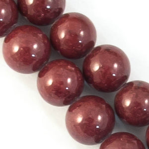 Semi prec 12mm rnd dyed opq maroon 34pcs