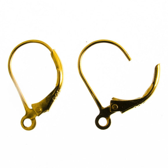 14k Gold sterling sil 18mm cont hook 2pc