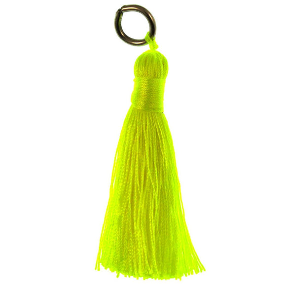 Thread 60mm Tassel Neon Yellow 4pcs