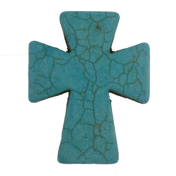 Semi prec 50x40mm cross turqu 2pcs