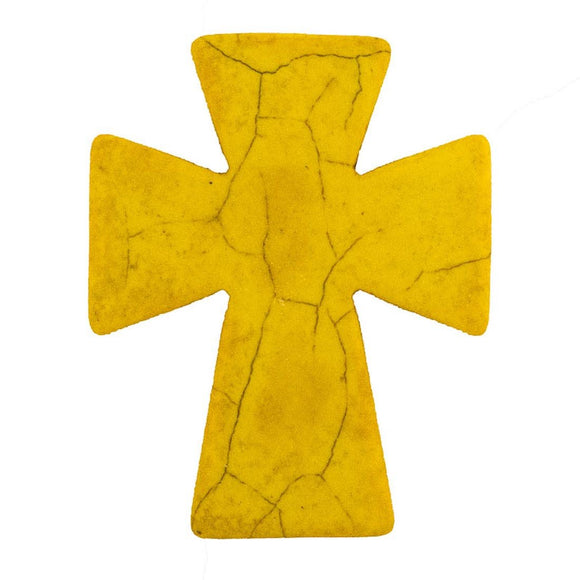 Semi prec 50x40mm cross yellow 2pcs