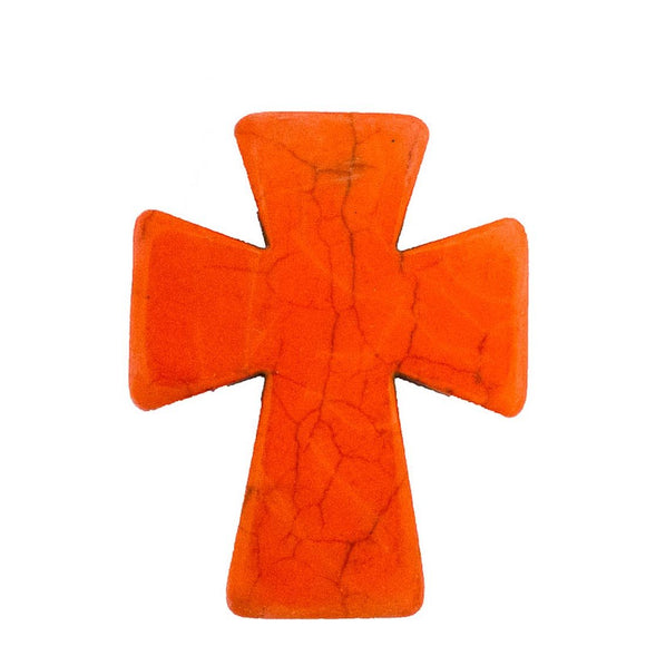 Semi prec 50x40mm cross orange 2pcs