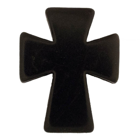 Semi prec 50x40mm cross black 2pcs