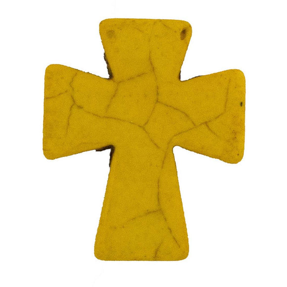 Semi prec 36x30mm cross yellow 2pcs
