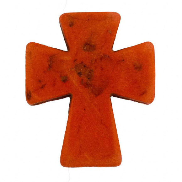 Semi prec 36x30mm cross orange 2pcs