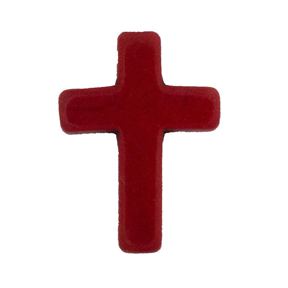 Semi prec 25x18mm cross maroon 4pcs