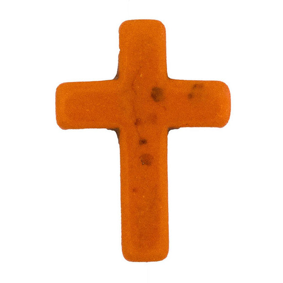 Semi prec 30x20mm cross orange 4pcs