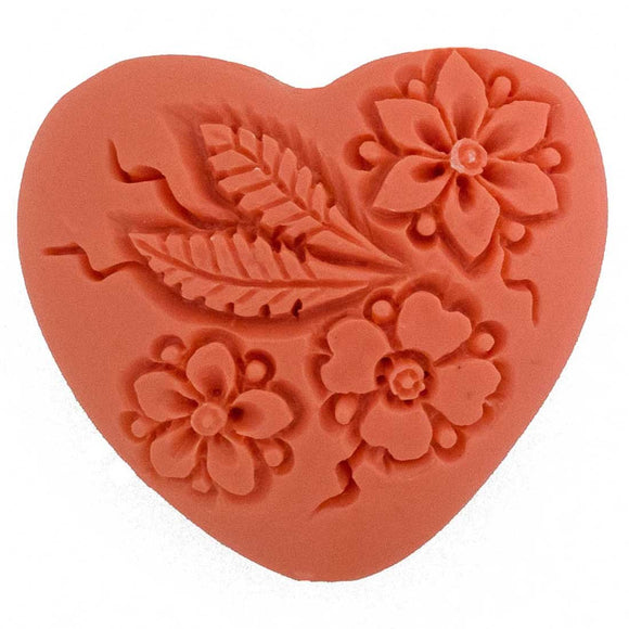 Resin 35mm heart floral V hole melon 1p