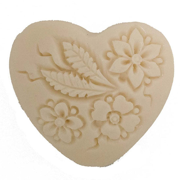 Resin 35mm heart floral V hole chai 1p