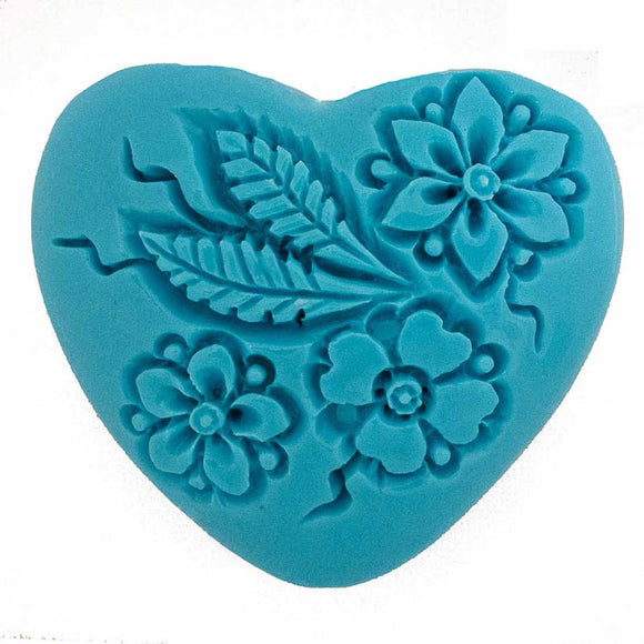 Resin 35mm heart floral V hole turq 1p