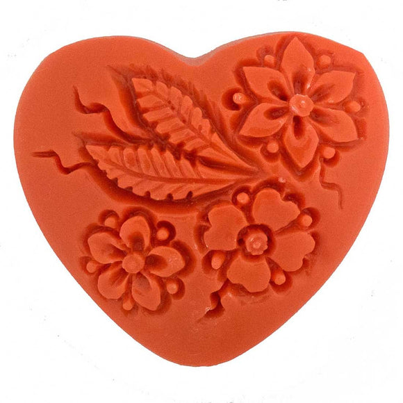 Resin 35mm heart floral V hole coral 1p