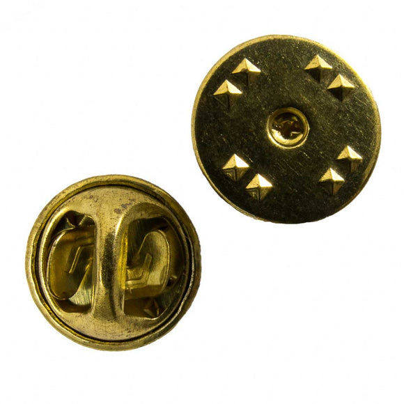 Metal 12mm badge pin backs brass 10pcs