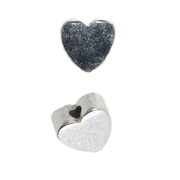 Metal 5mm heart Vert hole sil 250p