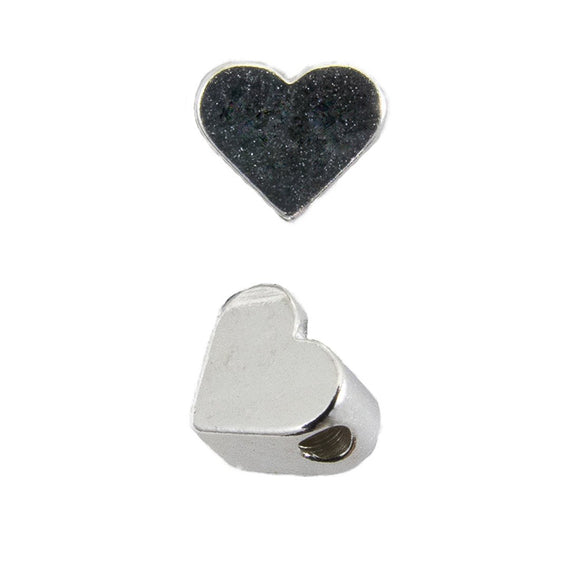 Metal 5mm heart Horizontal hole sil 50p