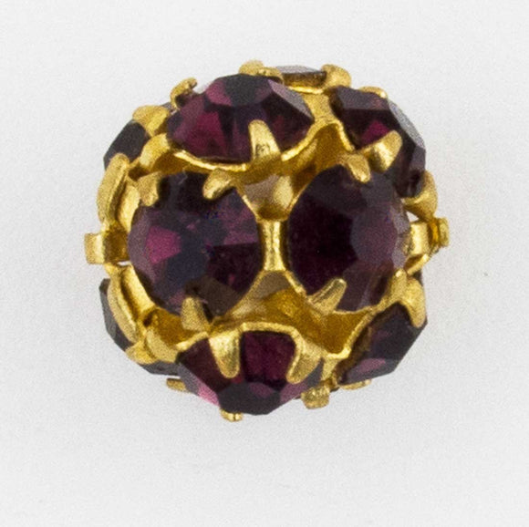 Cz 8mm rnd diamantes gold/amethyst 2p