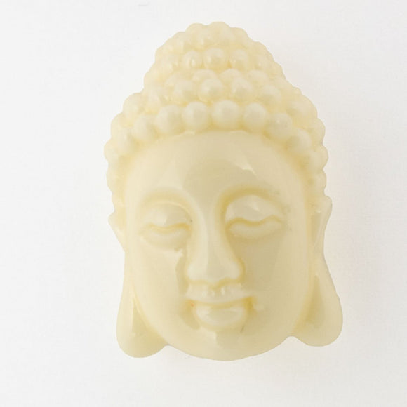 Resin 20mm buddha head v hole beige 2p