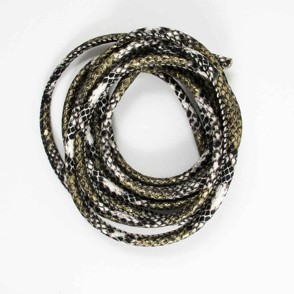 Cord 6mm rnd snake skin silver 2mtrs