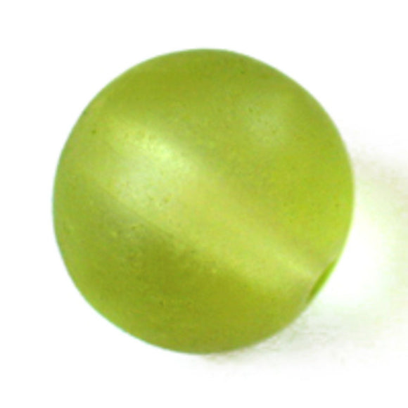 Cg 12mm rnd sea glass lime 15pcs