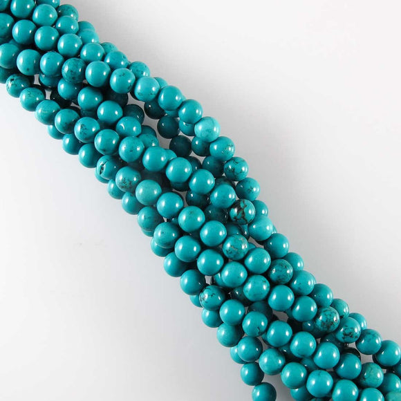 Semi prec 6mm rnd dyed howlite teal 60pc