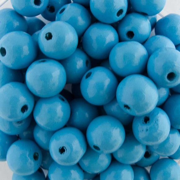 Wood 10mm rnd 2mm hole sky blue 100pc