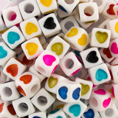 plas 7mm cube hearts multi/whit 200pc