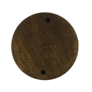 Wood 30mm coin 2 holes brown 10p