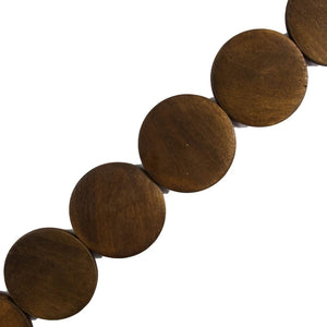Wood 40mm flat coin brown 10pcs