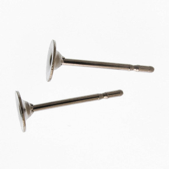 Metal 4mm rnd earring SURG stud back 100