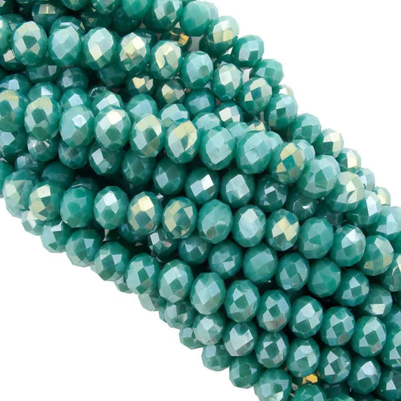 Cg 6x8mm faceted rondel teal 66pcs