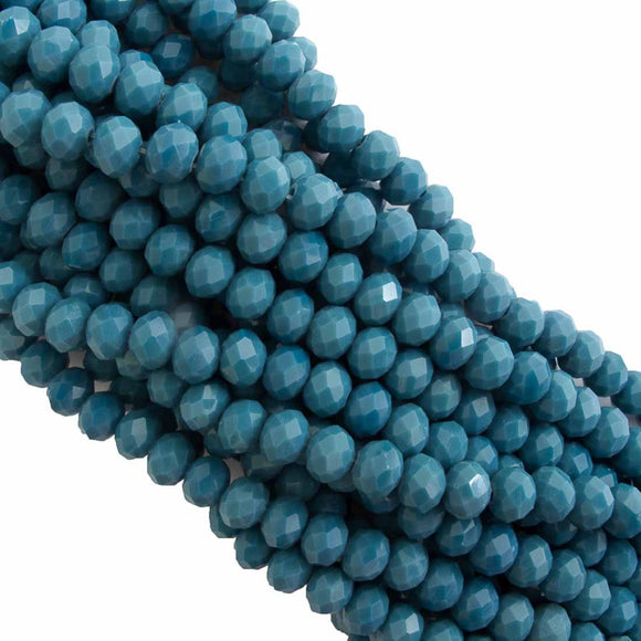 Cg 4.5x6mm faceted rondel steel blue 90p