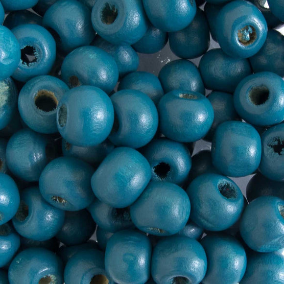 Wood 8mm rnd teal 20g/130pcs