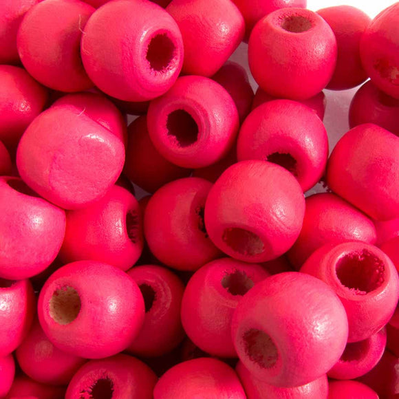 Wood 10mm rnd candy pink 30g/102pcs