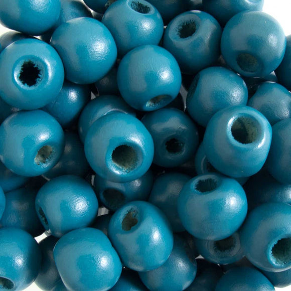 Wood 12mm rnd teal 40g/75pcs