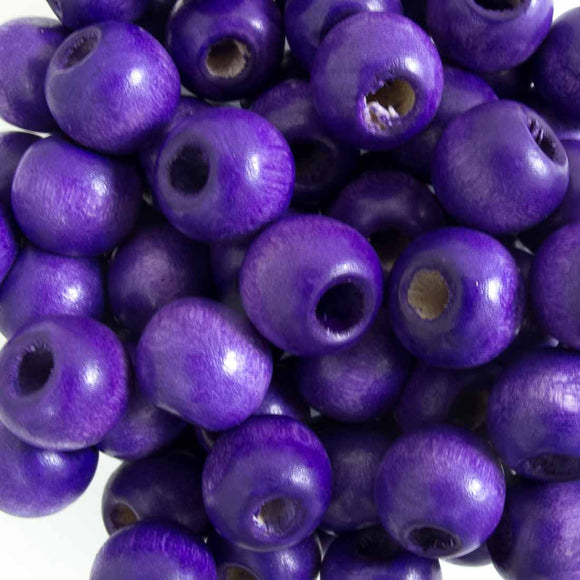 Wood 12mm rnd deep purple 40g/75pcs