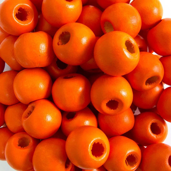 Wood 12mm rnd orange 40g/75pcs