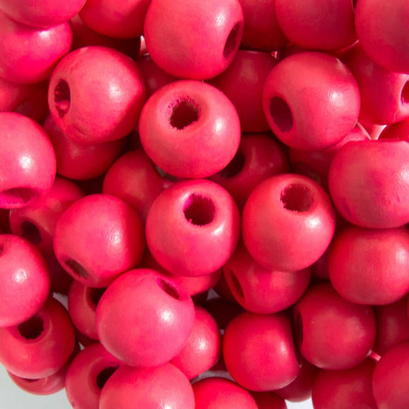 Wood 12mm rnd candy pink 40g/75pcs