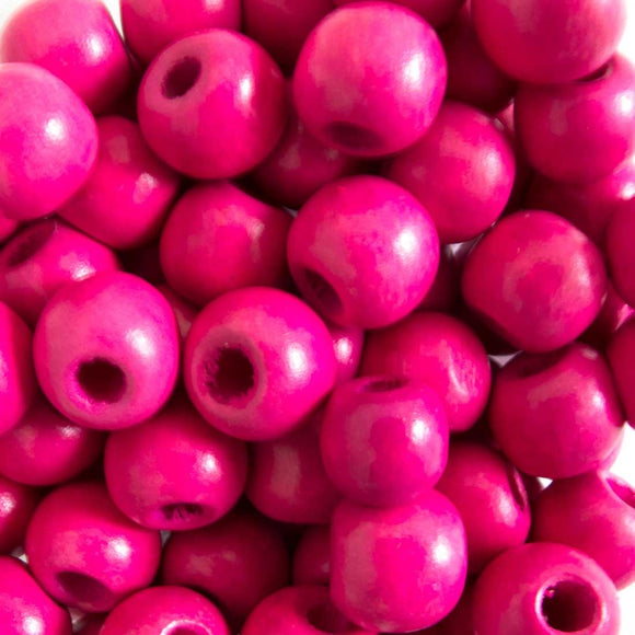 Wood 12mm rnd hot pink 40g/75pcs