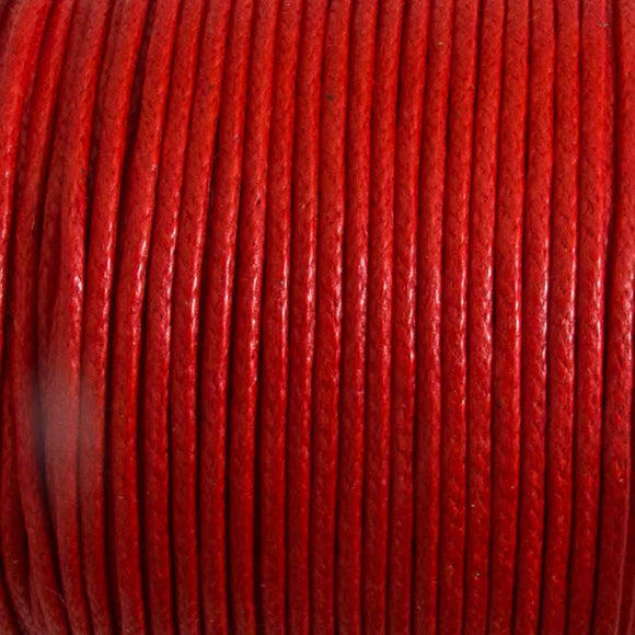 cord .77mm waxed cotton red 25 mtrs