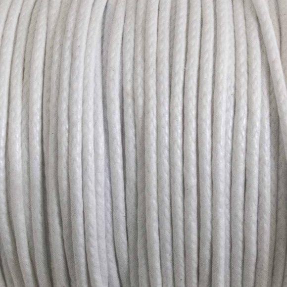 cord .77mm waxed cotton white 25 mtrs