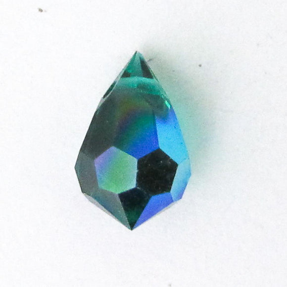 Cz 6x10mm faceted drop trns forest AB 4p