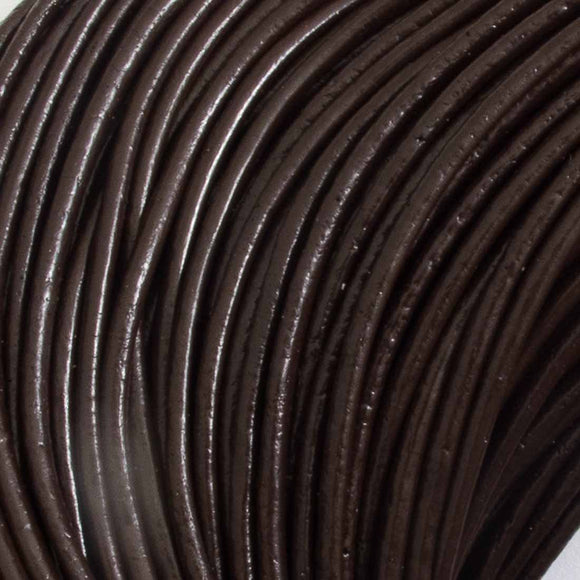 Leather 2mm round China chocolate 2m