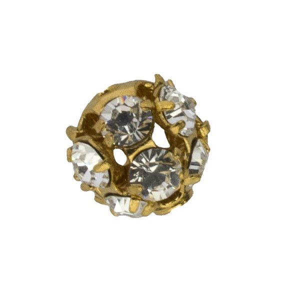 Swarovski 8mm rnd diamente gld/Cry 2p