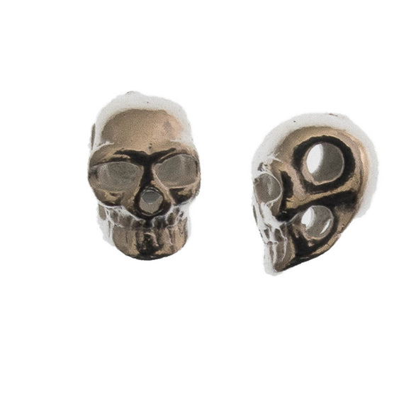 Metal 5x7mm skull 2 holes silver 10p