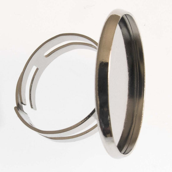 Metal 18mm ring 25mm base NF Nickel 4pcs