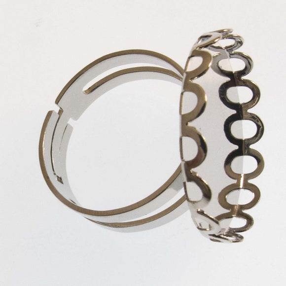 Metal 18mm ring 21mm base crwn NF Nkl 4p