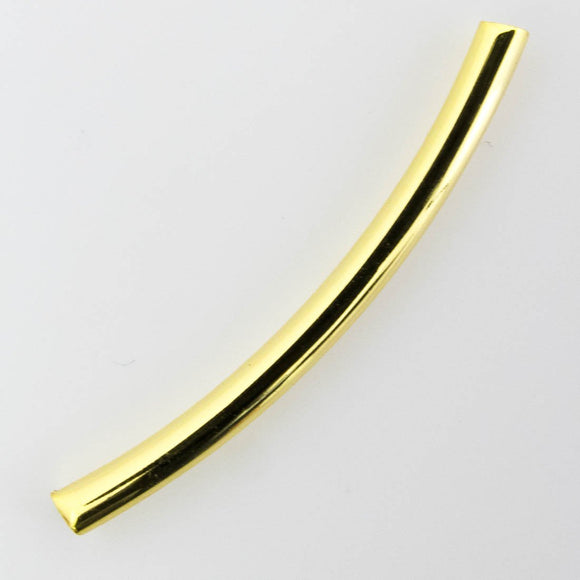 Metal 3x35mm rnd curved tube NF gld 8pc
