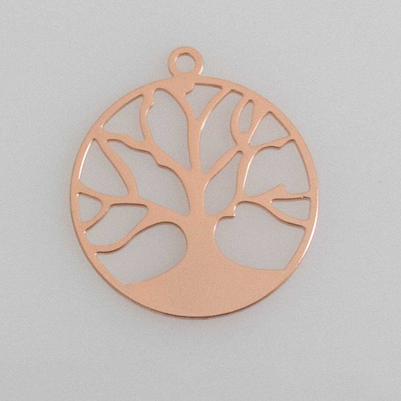 Metal 20mm tree of life NF thin RGLD 2p