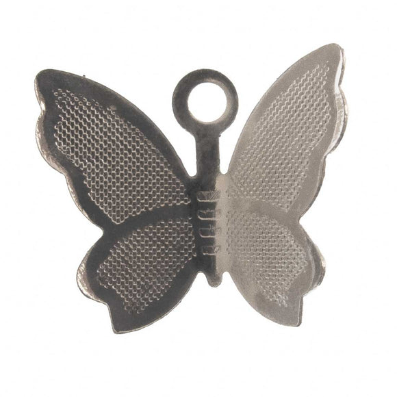 metal 11x14mm bfly charm sil 8pcs
